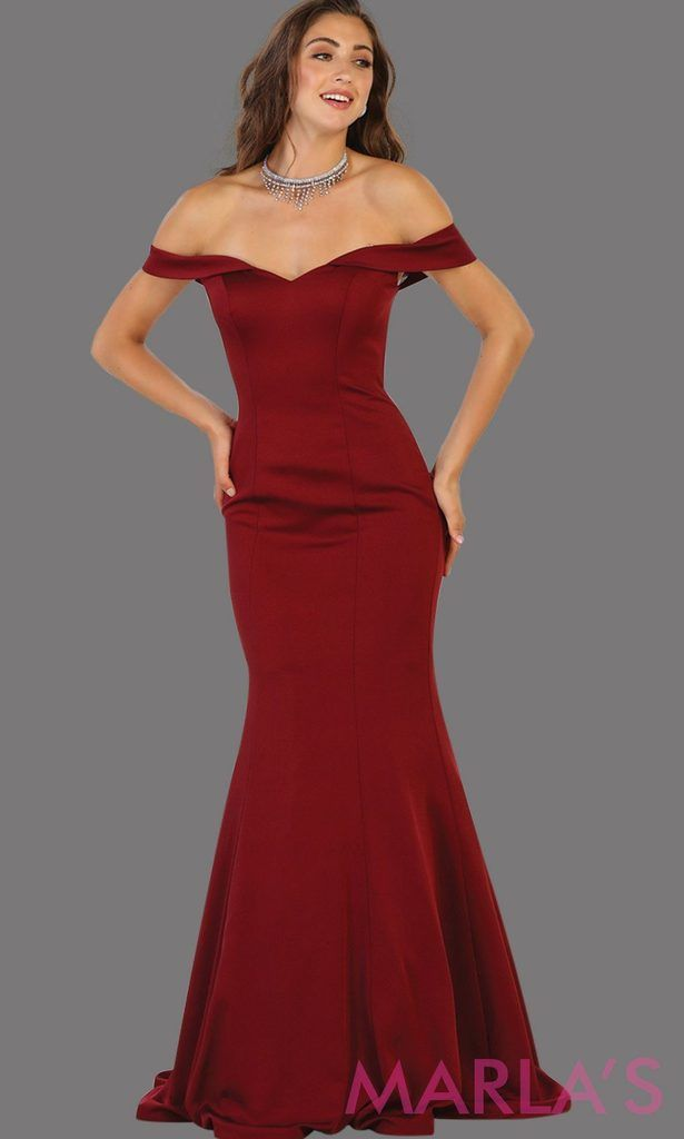 2d310cc779b2 Long Burgundy Fitted Off-Shoulder Dress