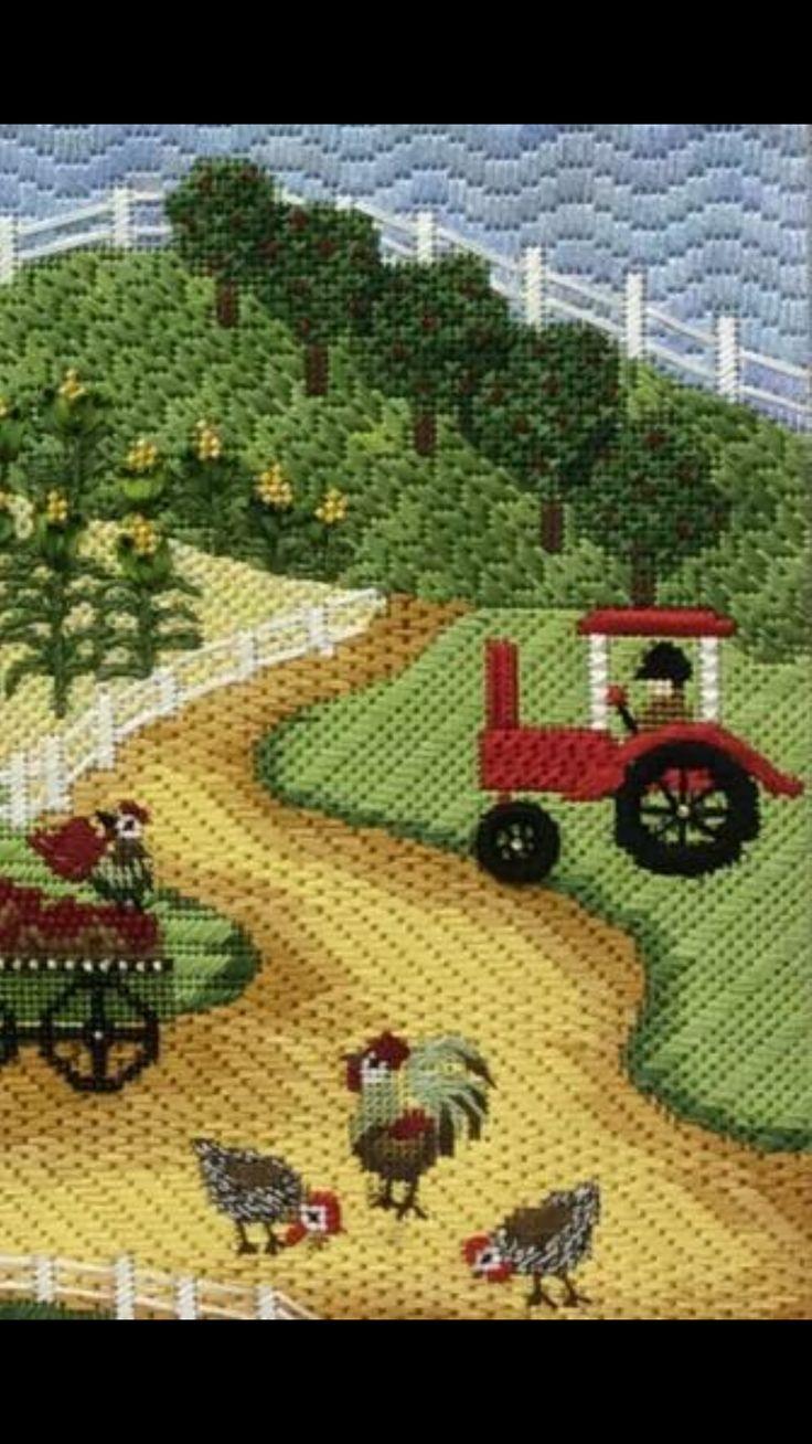 needlepoint farm scene, designer unknown