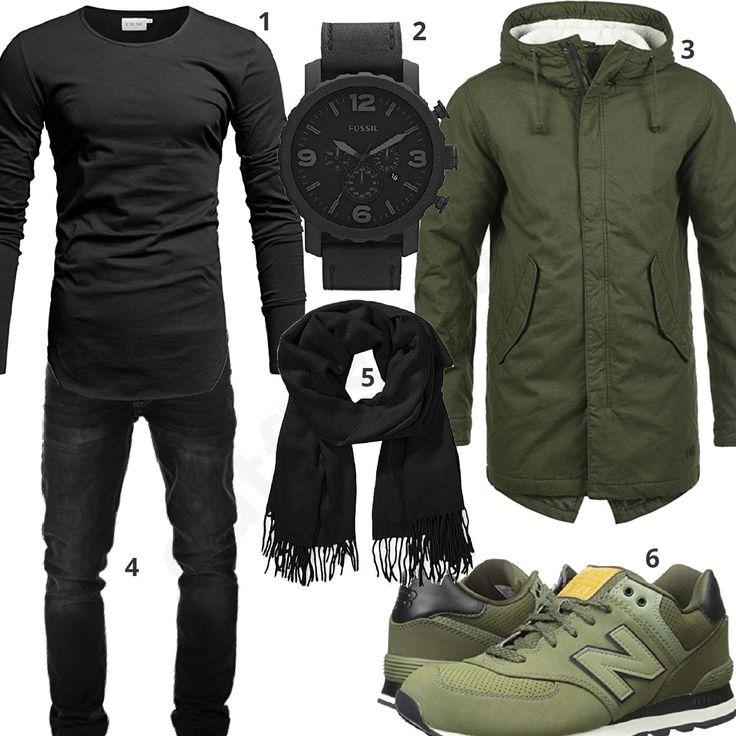 Lässiges Herrenoutfit mit schwarzem Crone Longsleeve, Yazubi Jeans, Pieces Schal, Fossil Chronograph, dunkelgrünem Produkt Parka und New Balance Sneakern.