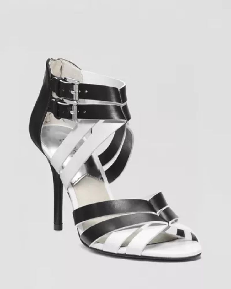 Michael kors cammie black/white leather open toe heels sandals shoes size 7  new