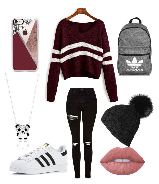"""🕶"" by sophievanderkooy on Polyvore featuring Topshop, adidas, Black, Casetify and Lime Crime"