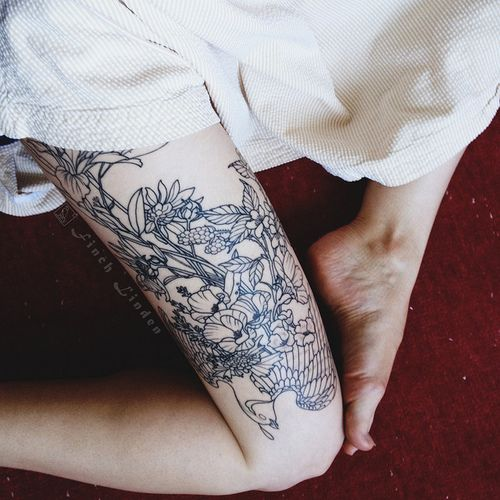 Flowers on thigh Tattoo