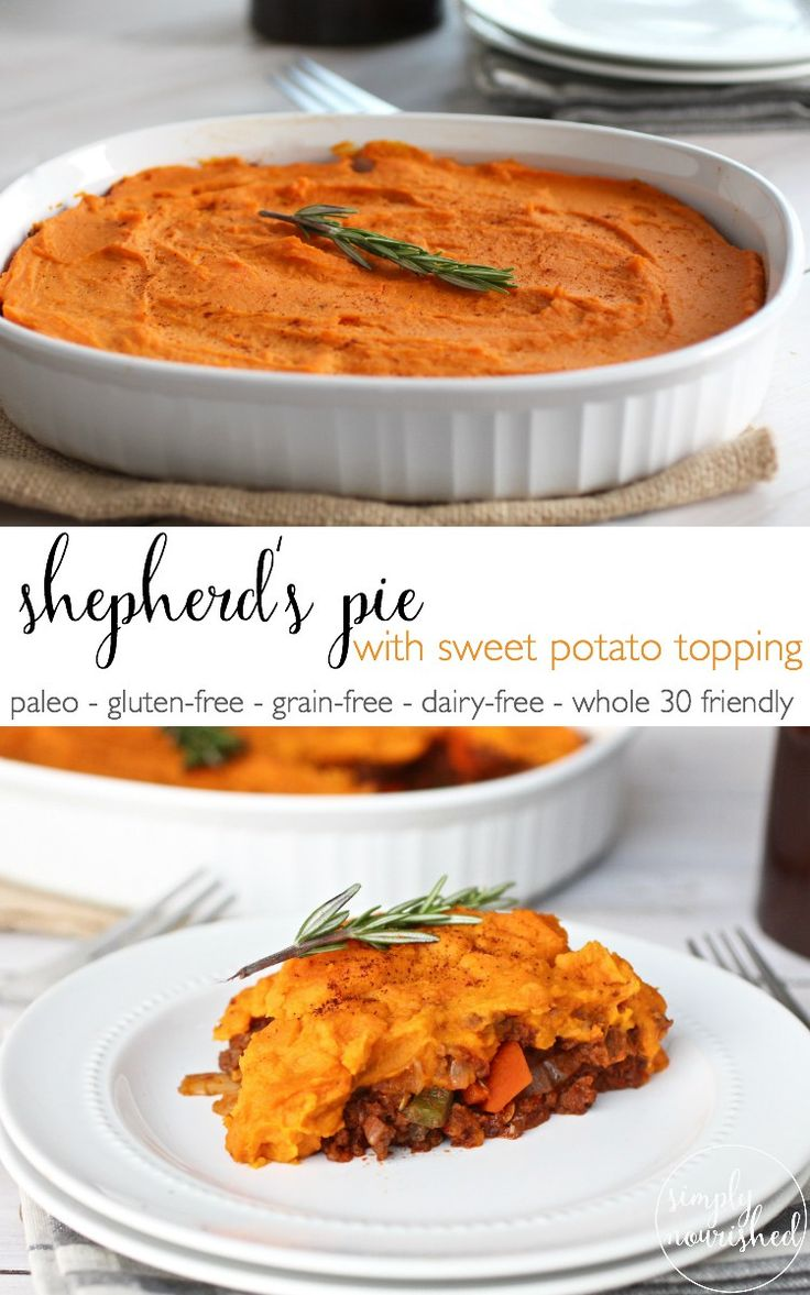 A hearty and satisfying dinner that's whole 30 approved and freezer-friendly! Shepherd's Pie with Sweet Potato Topping | paleo, gluten-free, grain-free, dairy-free, whole 30 | http://therealfoodrds.com/shepherds-pie/