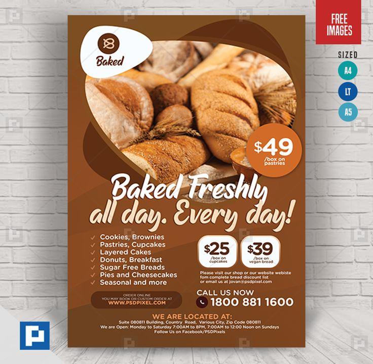 Bread and pastry flyer psdpixel in 2020 bread and