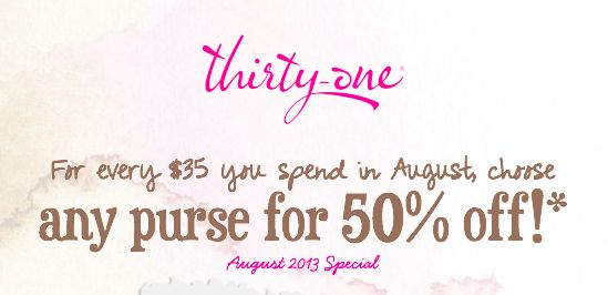 "Thirty One's August Special:  Spend $35 and choose ANY purse for 50% off!   Email me at ThirtyOneBagsRule@gmail.com or order on my website's weekly ""Open Order"" (closed each Friday) and get direct shipped"