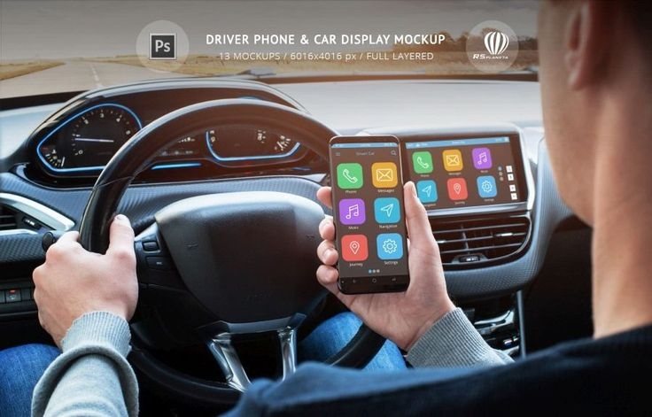 #Driver #Phone & #Car #Display #Mockup is a #PSD #Photoshop file with 13  scenes of smartphone in the driver's hand and car interior display to  present your mobile apps and technologies. #Peugeot #interior #ui #ue #Peugeot 2008 #SamsungS8 #SmartphoneInHand