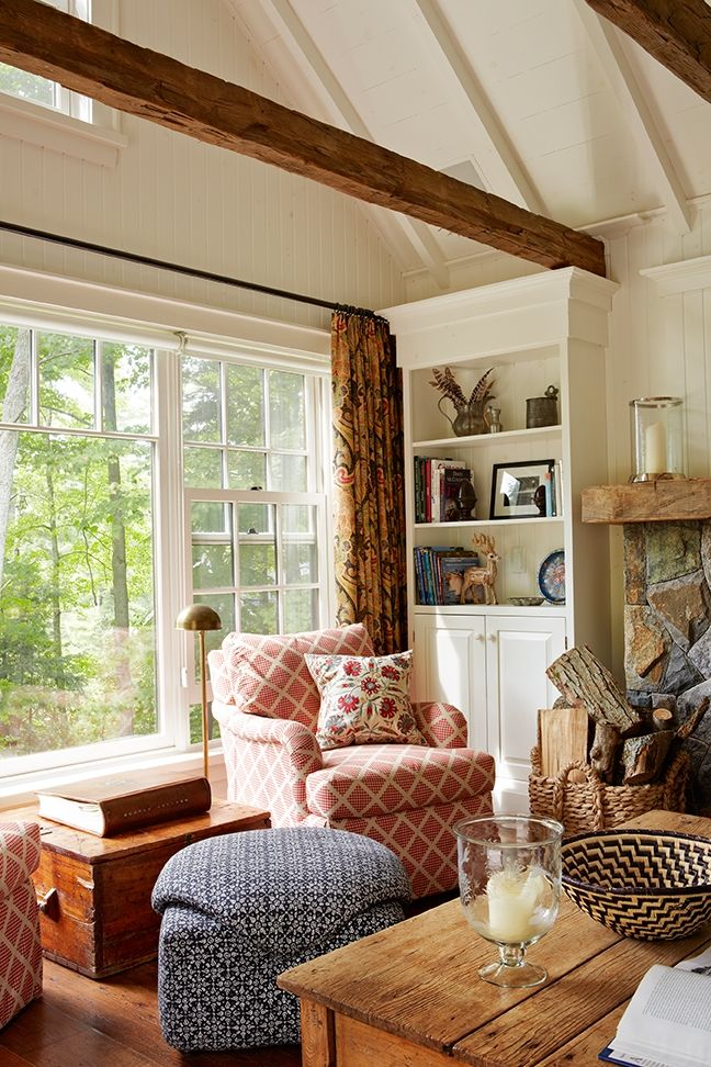 Cozy living room w/lots of natural light & wood accents.....Anne Hepfer