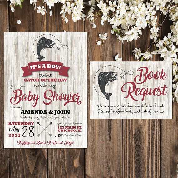 Fishing Baby Shower Invitations | Fishing Invitation | Fishing Party | Fishing Baby Shower Invites | Rustic Baby Shower | Boy Baby Shower  This listing is for a PRINTABLE one-sided Baby Shower invitation and Book Request card for you to print at home or print through a print shop.  This invitation comes as 5x7 and the insert card is 5x3.5.  *Let me know if you want a different color I can change it for you at no additional charge.  Everything is sent through email only for you to print…