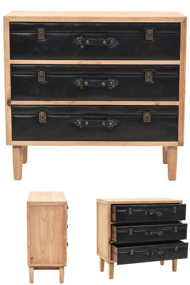 Wooden 3 Drawers Chest Retro Pu Leather Sideboard Living Room