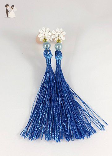 Breakfast at Tiffanys Inspired Tassel Ear Plugs Tassel Earrings for Women Concert Ear Plugs Foam Ear Plugs Cobalt Blue Tassel Earrings. - Bridesmaid gifts (*Amazon Partner-Link)