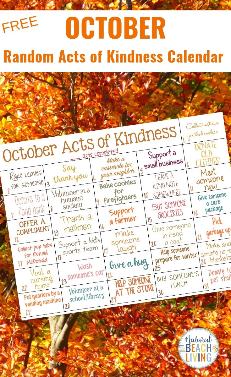 Random Acts Of Kindness Calendar For October This Fall Random Acts Of Kindness Ideas Calendar Is A Fun And Easy Way To Spread Kindness A Perfect October