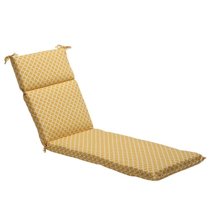 Pillow Perfect / White Contemporary Geometric Outdoor Chaise Lounge Cushion