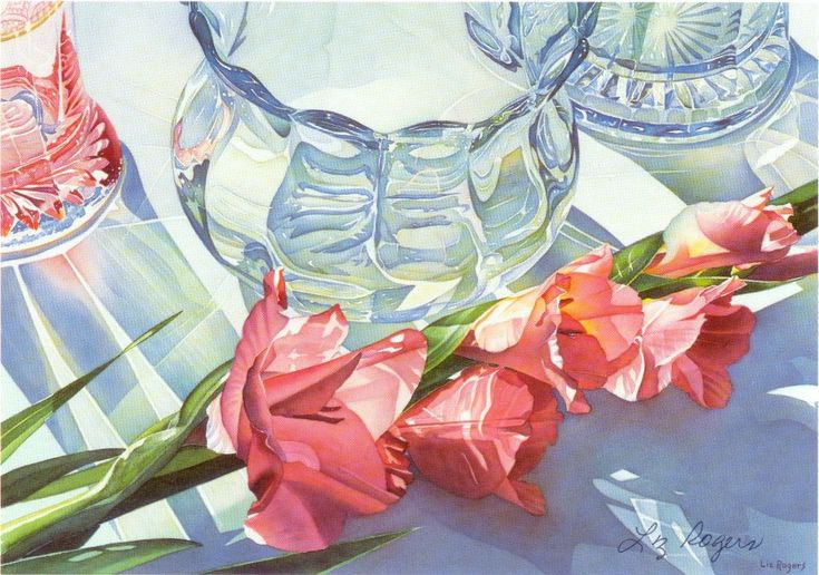 """""""Three Baskets""""  I possess a signed/numbered print of this beautiful painting.  Liz Rogers is an amazing watercolor artist."""