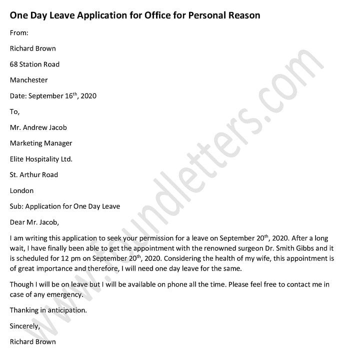 One Day Leave Application For Office For Personal Reason Application Letters Work Application Day Left