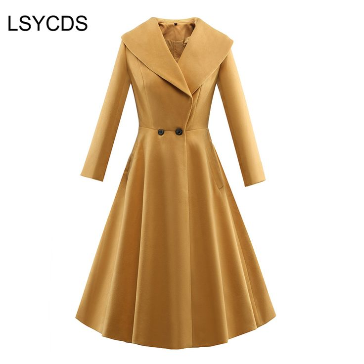 >> Click to Buy << 2017 Winter Long Trench Coat for Women Full Sleeve Turn-down Collar Double Breasted Vintage Skirt Overcoat Casual Coats #Affiliate