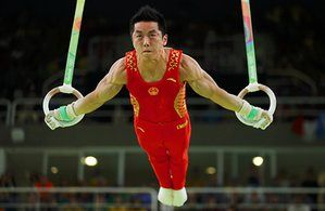 China's You Hao competes in the men's rings final.