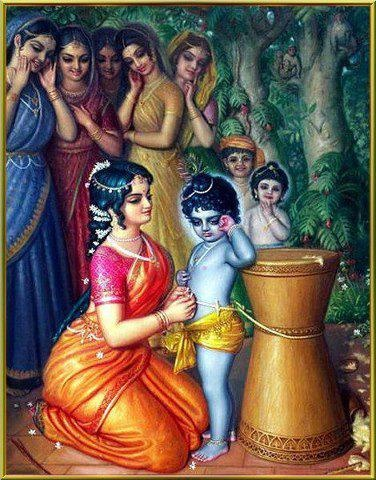 Krishna getting punishment for his pranks by Yashoda Maa