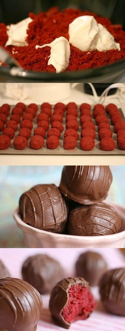 Red Velvet Cake Balls 1 box red velvet cake mix (cook as directed on box for 13 X 9 cake) 1 can cream cheese frosting (16 oz.) 1 package chocolate bark (regular or white chocolate) wax paper Mix baked cake after cooled in a mixer with frosting just till combined, use small scoop to portion out balls. Place on wire rack and cover in chocolate of choice.  Transfer to wax paper to cool..