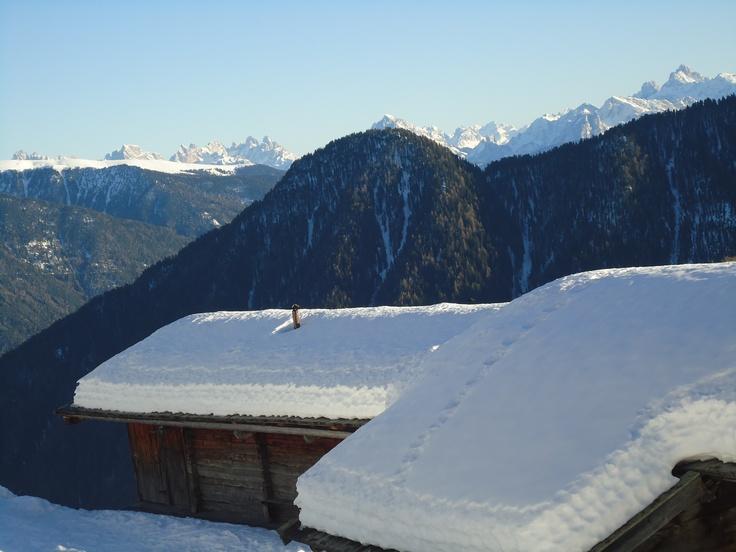 Blick von Mühlwald aus zu den Dolomiten
