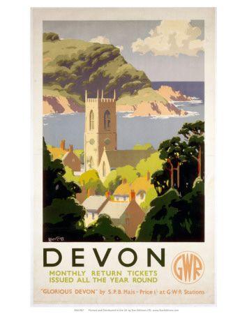 Devon, GWR, c.1930s Poster hos AllPosters.no