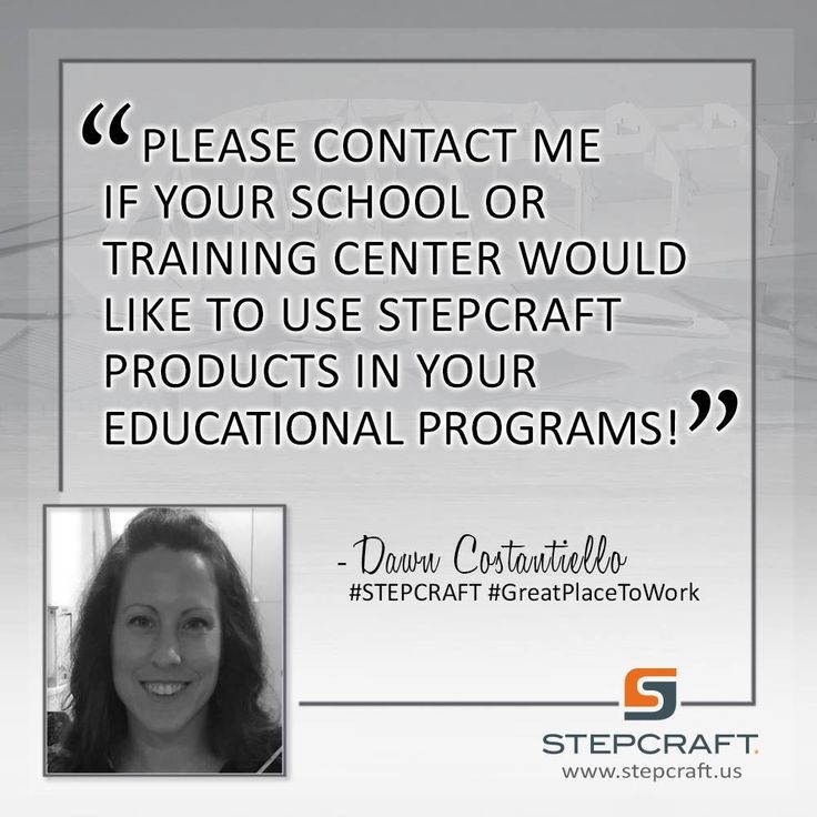 """Please contact me if your school or training center would like to use STEPCRAFT products in your Educational Programs!"" –Dawn Costantiello #STEPCRAFT for education #GreatPlaceToWork #Torrington #Connecticut #design #carve #create #woodworking #cnc #cncrouter #cncowners #stepcraftcnc START your own CNC business with a #STEPCRAFT #CNC #3dprinter. www.stepcraft.us info@stepcraft.us (203) 556-1856 What will you Create?"