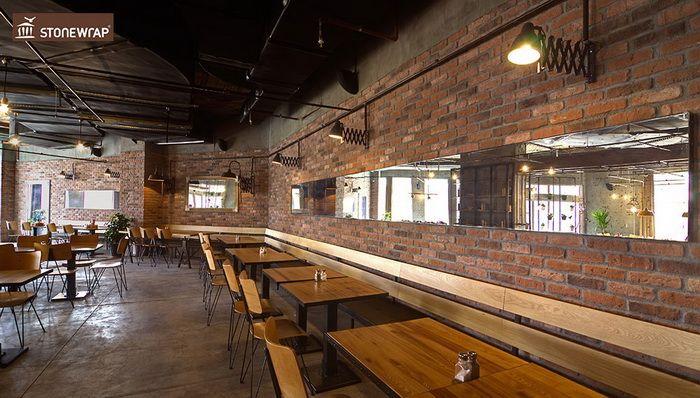Cafe renovation using Cottage Red brick slips