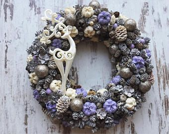 Purple christmas door wreath door hanger xmas 2017 vintage rustic home decor christmas decoration purple xmas