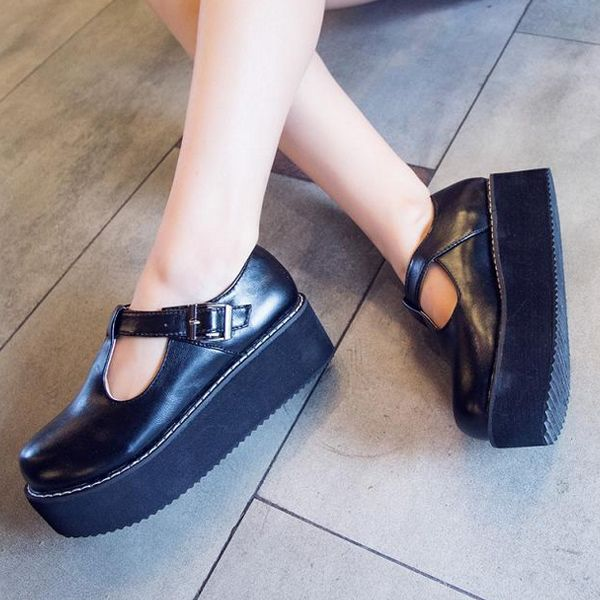 Women Flats Creeper T-Straps Round Toe High Platform Shoes - US$18.73