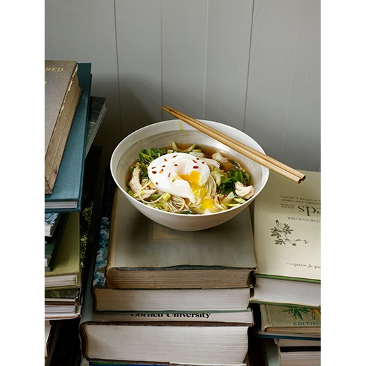 My perfect Sunday: stacks of books, a warm bowl of noodles, a plump little egg on top. www.ayabrackett.com