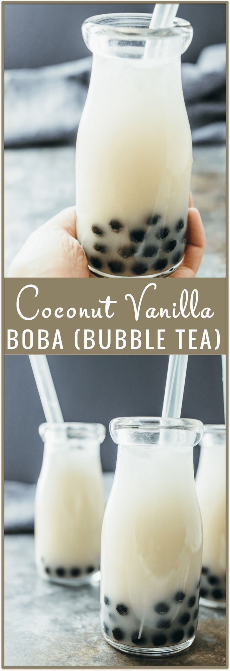 Coconut vanilla boba (bubble tea) - Ever wonder how to make boba (bubble tea) at home? This recipe shows you how to make boba with coconut and vanilla flavors using home-cooked tapioca pearls! You dont need many supplies/ingredients to end up with this v