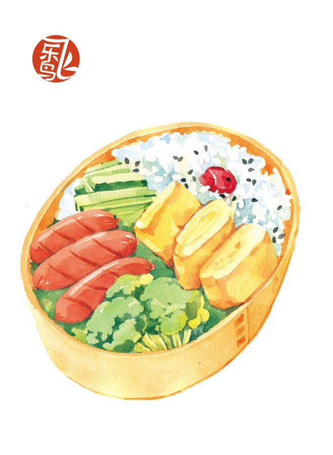 Bento ~ food watercolor painting