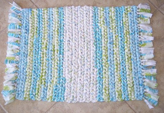 Hand Crocheted Rag Rug Rectangle With Fringe Vintage