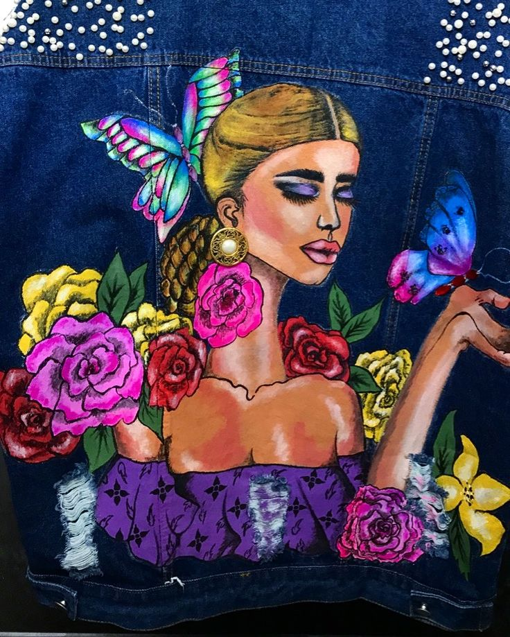 Art of denim -painting on fabrics -acrylic colours -for sale