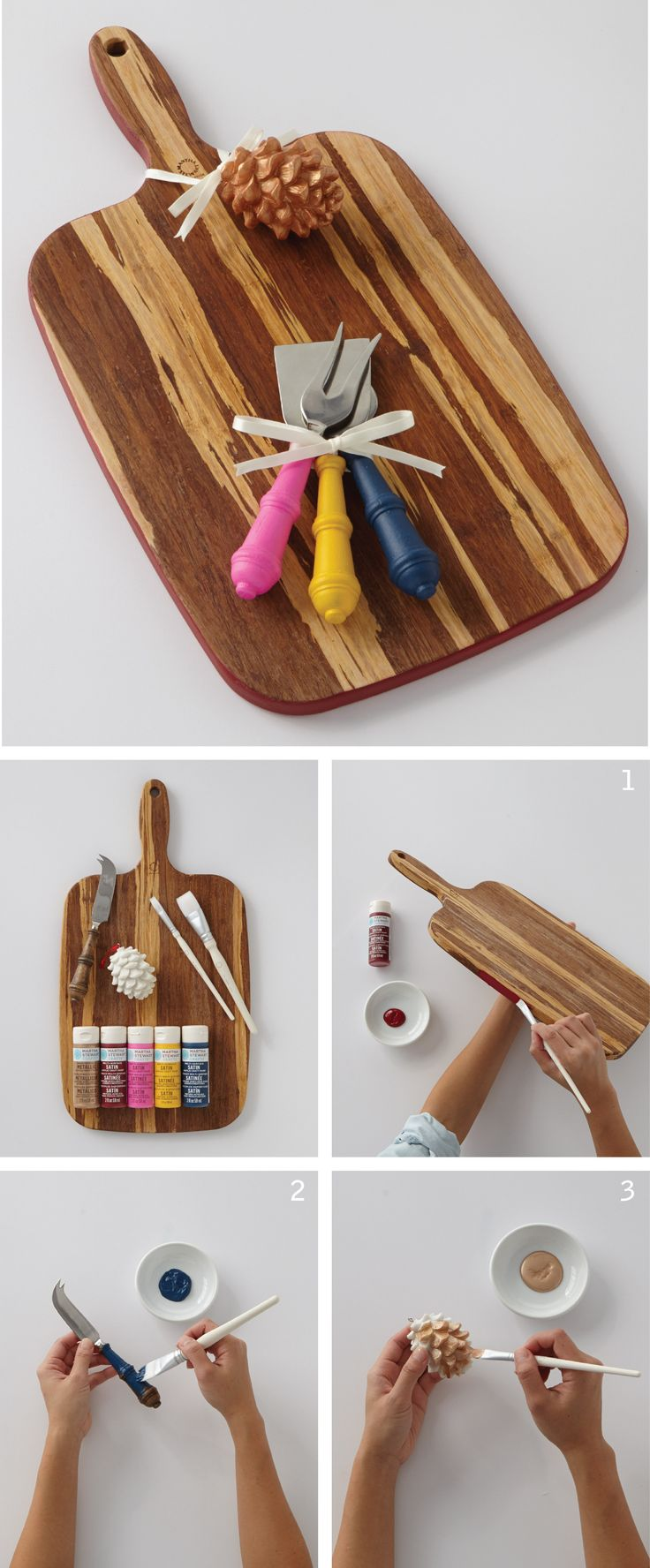 Painted Cheese Board, Knives, and Pinecone | Martha ...