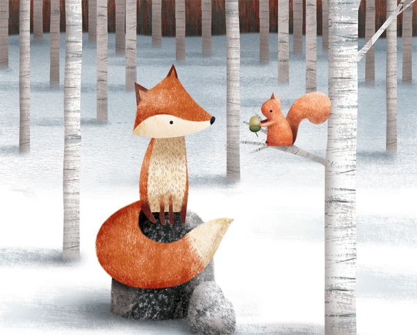 Fox and Squirrel in the Winter Woods - by James Newman Gray