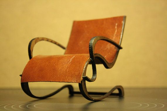Art Nouveau style brown leather armchair  1/12 by Amatheria, €27.00
