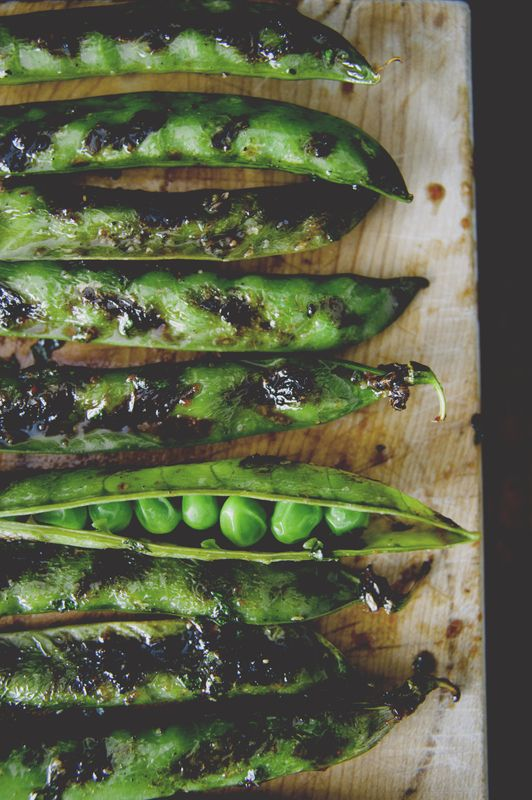 Spicy Grilled Pea Pods with Soy Glaze & Mint