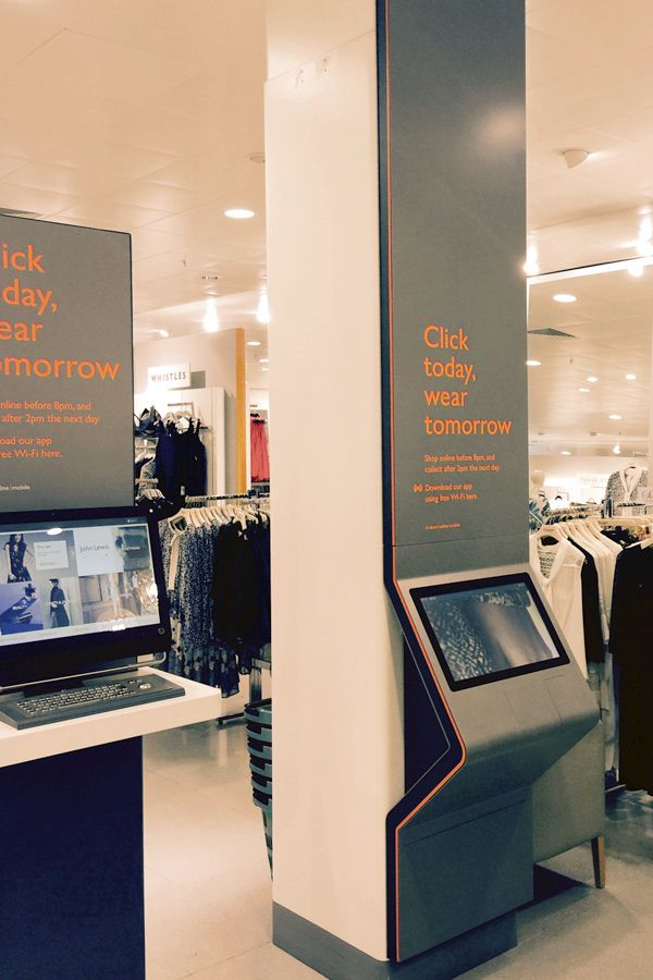 Digital interactive order point in John Lewis, Birmingham, New Street Station. The kiosk brings the online experience into the store for customers to purchase items for collection the following day. Featuring a contemporary and stylish design to blend into the shop. Designed, manufactured and installed by 10 Squared.