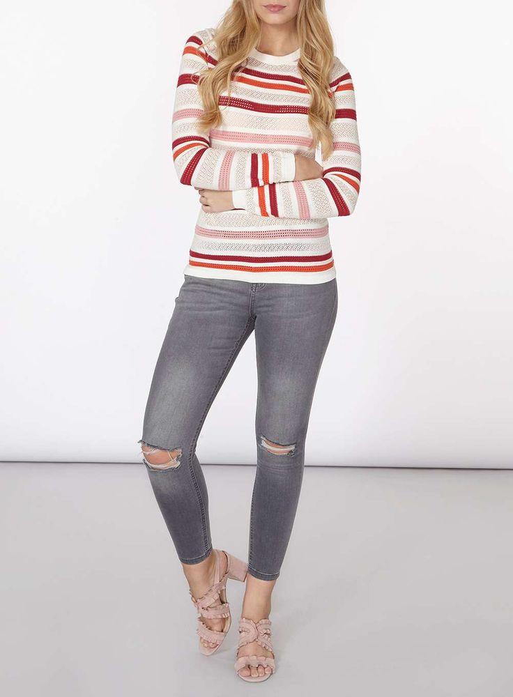 Womens Multi Colour Striped Jumper- Fl Multi