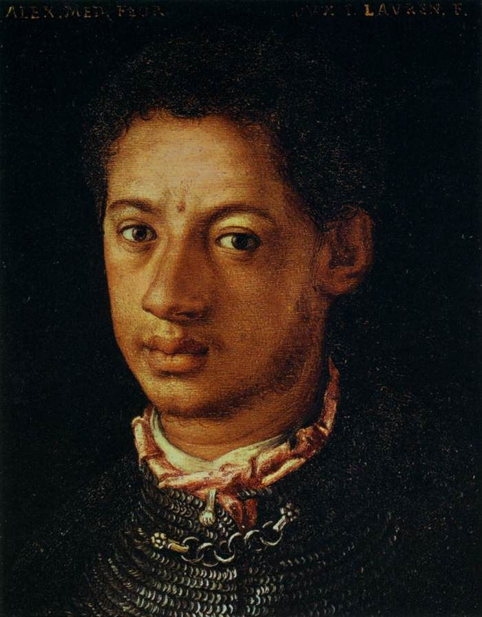 Alessandro de Medici The Medici family played a major role in the Italian Renaissance. Not only did Alessandro patronize many of the greatest artists of the time, he was buried in a tomb designed by Michelangelo. Medici was the first black head of state in the Western World, but his ethnicity was rarely addressed. The prince was born to a black servant woman named Simonetta da Collavechio and 17-year-old Cardinal Giulio de Medici, who later became Pope Clement VII.