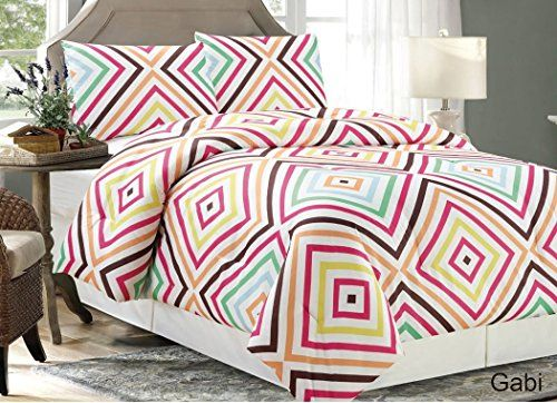 Gabi by Chezmoi Collection 3 Pieces Geometric MultiColor Square Pattern WhitePinkYellowOrangeBrownGreen Bedding Comforter Set FullQueen -- Be sure to check out this awesome product.