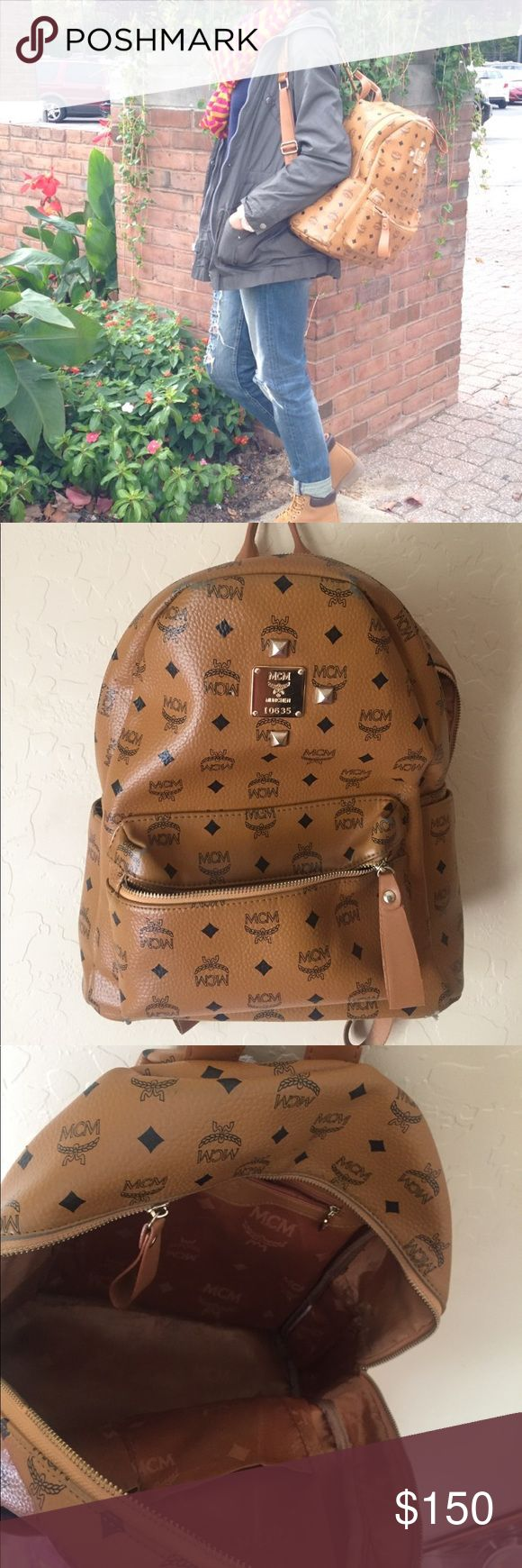 MCM backpack This is an Authentic MCM backpack. I got it 2 years ago and only used it twice. It's in really good shape and looks brand new. It's missing a stud and has a broken zipper that was damaged when I moved to my new home but both can easily be replaced . I'm asking for listed price but will be willing to go lower MCM Bags Backpacks
