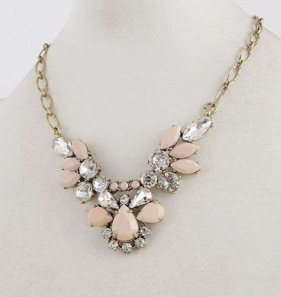 New - Shabby Pink - J'crew Style Crystal-encrusted Bib Statement Necklace