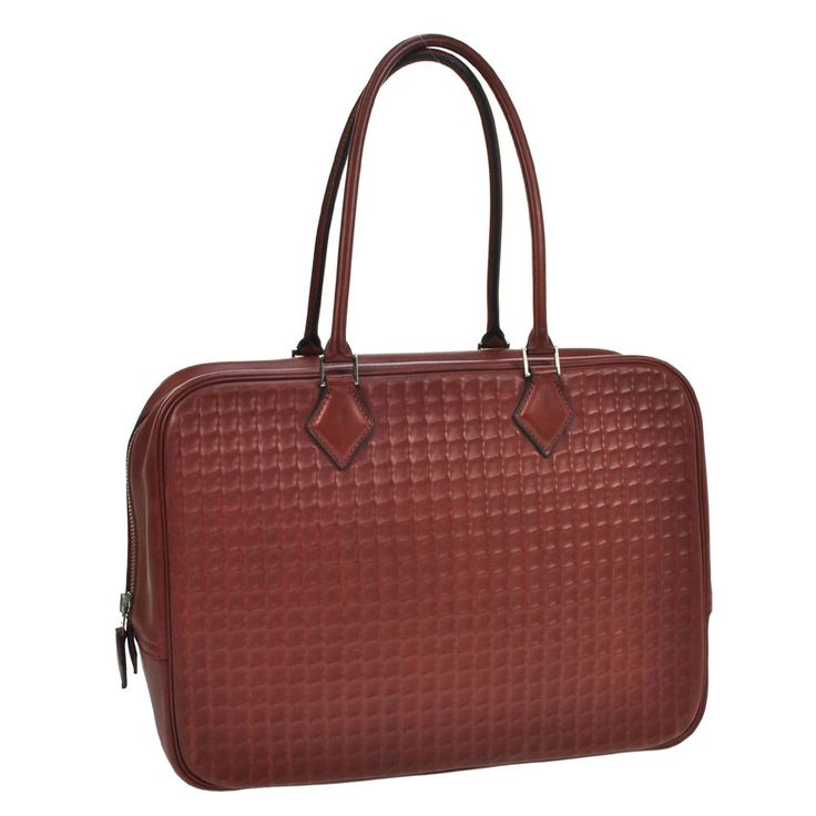 Authentic HERMES PLUME 32 Hand Bag Bordeaux Waffle Box Calf VTG France NR08582 #HERMES #HandBag