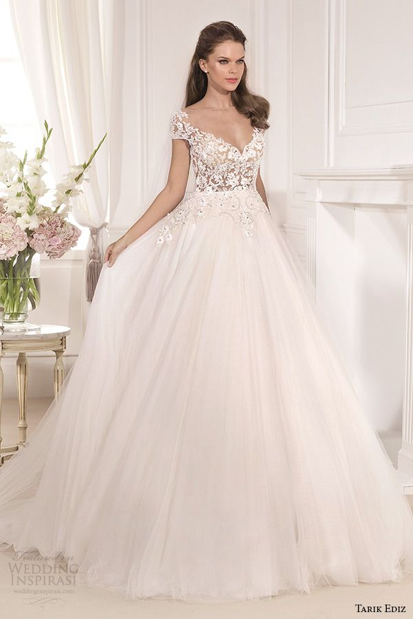 http://www.weddinginspirasi.com/2014/08/05/tarik-ediz-white-2014-bridal-collection-part-1/ Tarik Ediz 2014 #bridal collection: Karanfil cap sleeves illusion neckline sweetheart a line #wedding dress #weddingGown #weddingDress