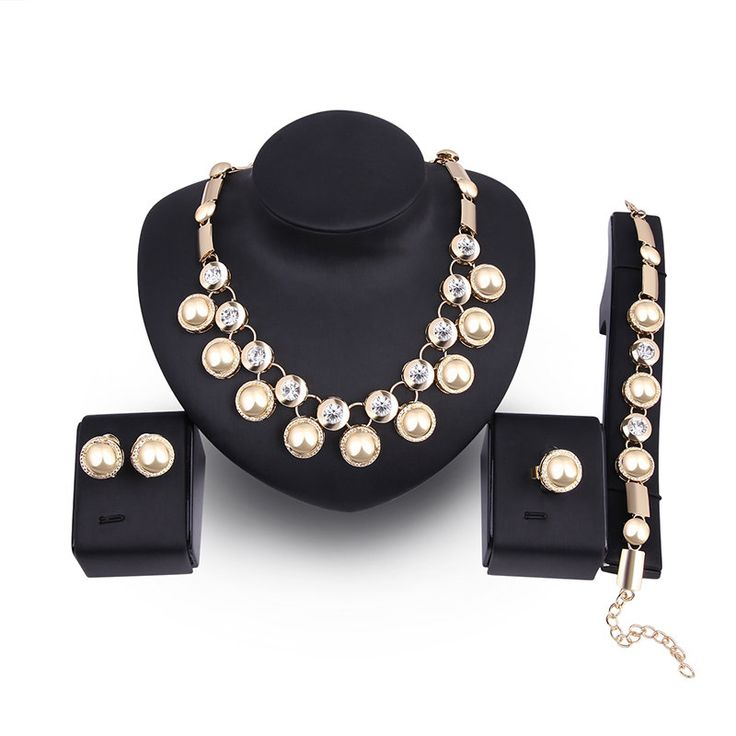 Luxury Bridal Jewellery Vintage Gold Plated Charm Necklace Bracelet Earrings Ring Sets for Women wholesale - NewChic