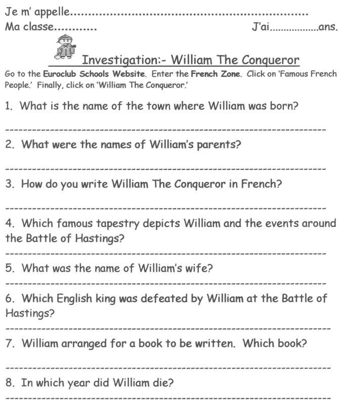 A webpage with accompanying worksheet, outlining some simple and basic information about William of Normandy.