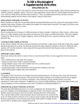 To Kill a Mockingbird Activities (SIX Supplemental EDITABL