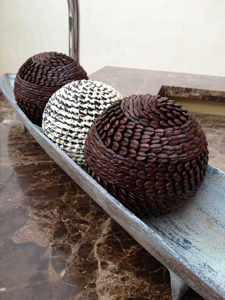 Decorative balls made from coffee beans. These were at our resort in Mexico.
