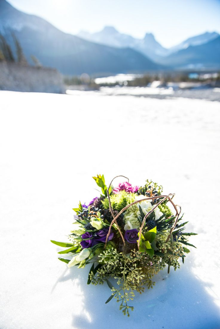 Rustic, mountain inspired bouquet full of seeded eucalyptus, lisianthus, green trick, trachelium, kale, curly willow and more! Canmore Wedding Florist: Flowers by Janie www.flowersbyjanie.com Photo: @One Edition www.one-edition.ca